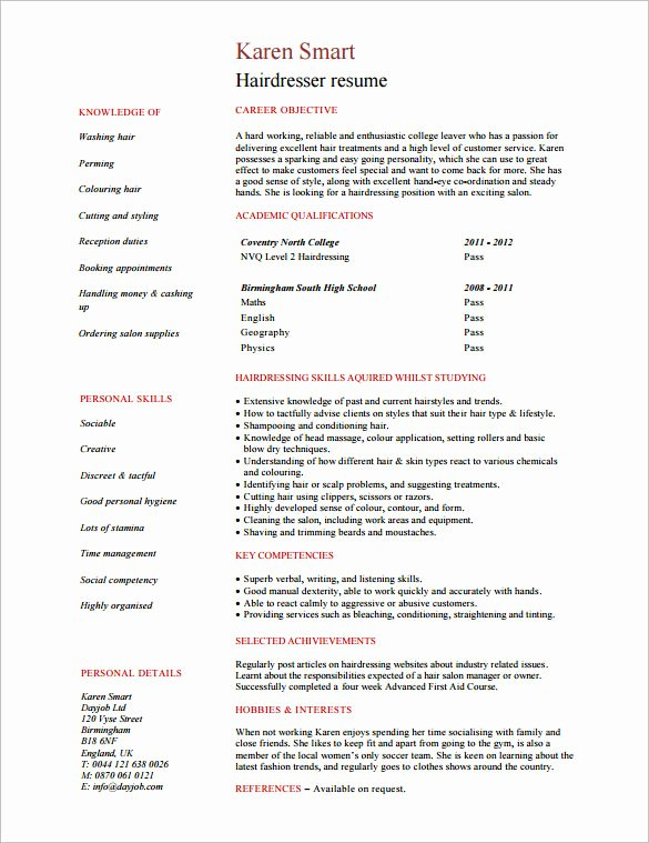 Hair Stylist Resume Template Fresh 8 Hair Stylist Resume Templates Doc Pdf