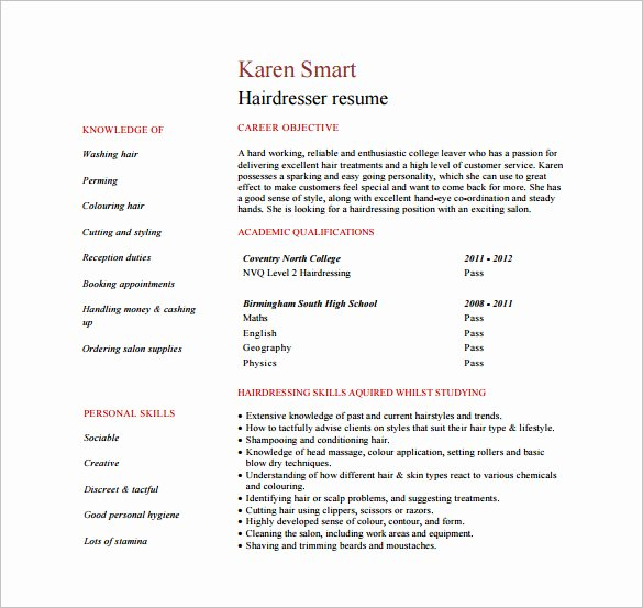 Hair Stylist Resume Template Inspirational 8 Hair Stylist Resume Templates Doc Excel Pdf