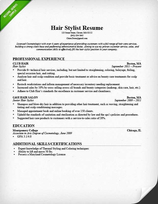 Hair Stylist Resume Template Lovely Hair Stylist Resume Sample & Writing Guide