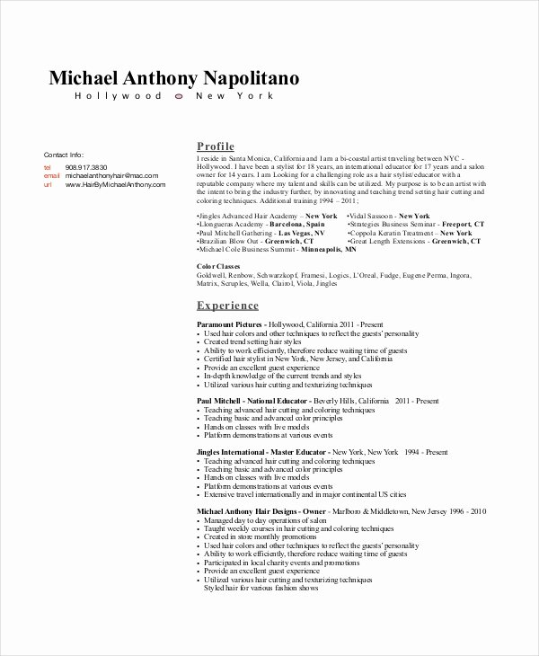 Hair Stylist Resume Template Unique Hair Stylist Resume Example 6 Free Pdf Psd Documents
