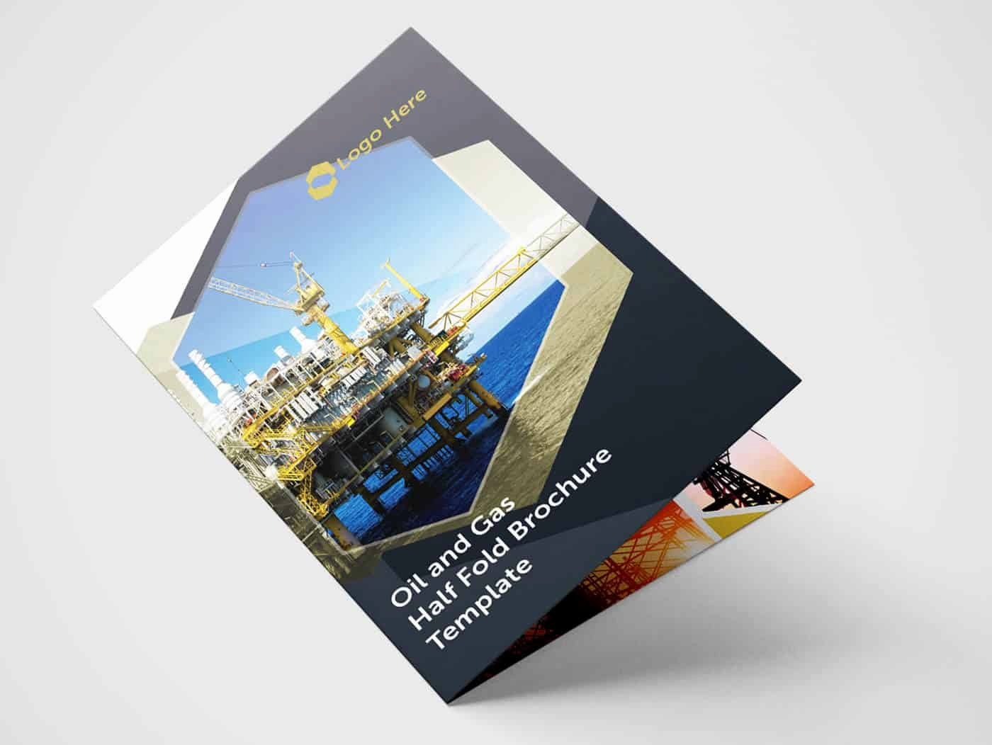 Half Fold Brochure Template Awesome Half Fold Oil and Gas Brochure Template On Vectogravic Design
