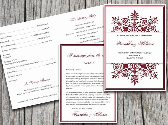 Half Fold Program Template Awesome Half Fold Wedding Program Template ornate by