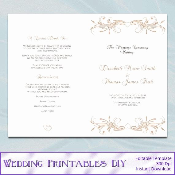 Half Fold Program Template Beautiful Champagne Wedding Program Booklet Template by