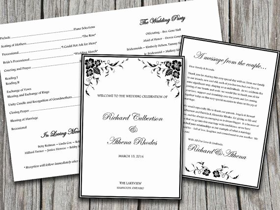 Half Fold Program Template Beautiful Half Fold Vineyard Blooming Corners Wedding Program
