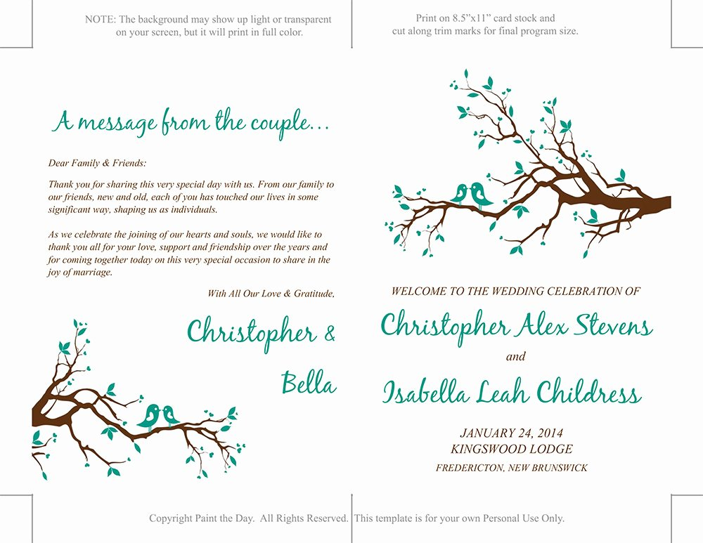 Half Fold Program Template Beautiful Half Fold Wedding Program Template Love by Paintthedaydesigns