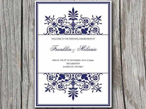 Half Fold Program Template Beautiful Snowflake Diy Wedding Program Template ornate Border