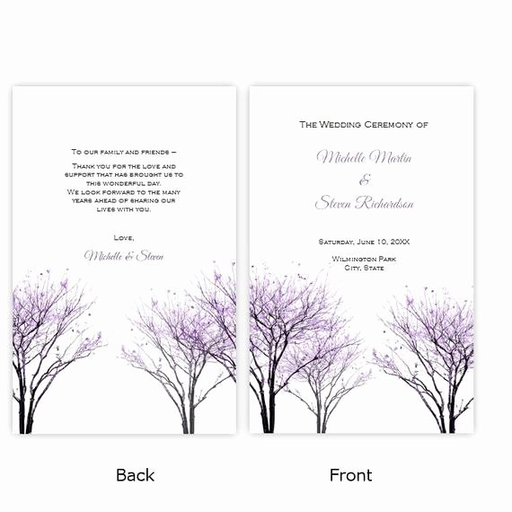 Half Fold Program Template Best Of Folded Wedding Program Template Beautiful Purple Trees Diy