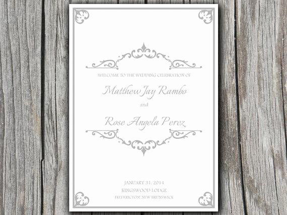 Half Fold Program Template Elegant Antique Chic Half Fold Wedding Program Template Microsoft Word