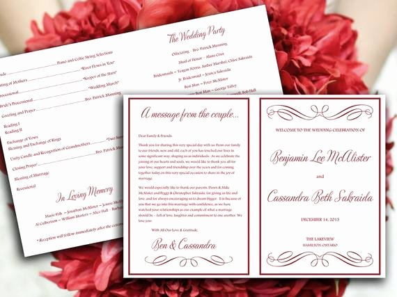 Half Fold Program Template Elegant Half Fold Wedding Program Template Microsoft by