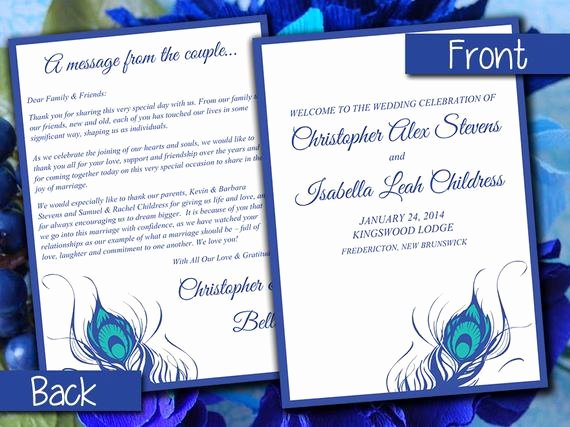 Half Fold Program Template Inspirational Half Fold Wedding Program Template Peacock Feather Horizon