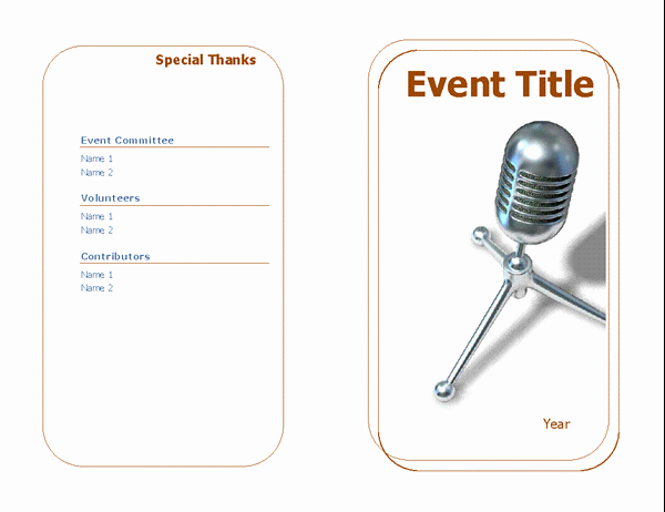 Half Fold Program Template Luxury event Program Half Fold