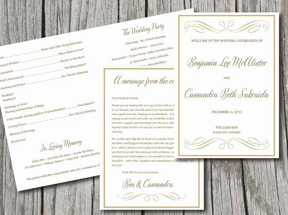 Half Fold Program Template Luxury Fold Over Wedding Program Template Download Gold Program