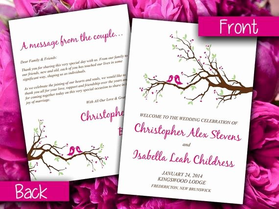 Half Fold Program Template Luxury Items Similar to Half Fold Wedding Program Template Love