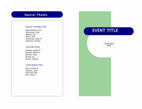 Half Fold Program Template Unique event Program Half Fold 4 Pages