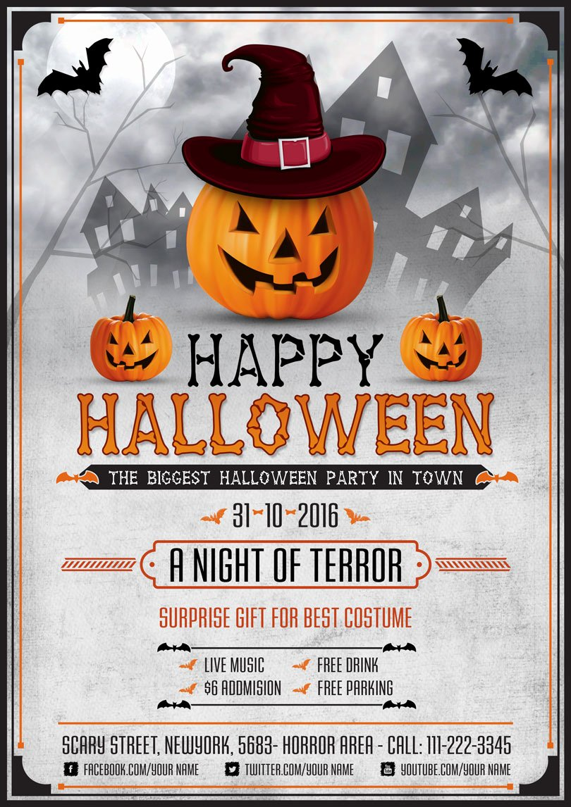 Halloween Flyer Template Free Elegant Halloween Scary Night Flyer Template Psd Graphic Google