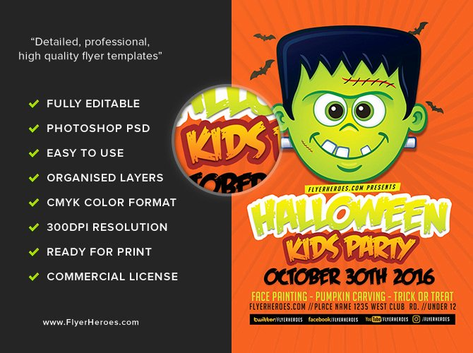 Halloween Party Flyer Template Elegant toon Halloween Kids Party Flyer Template Flyerheroes