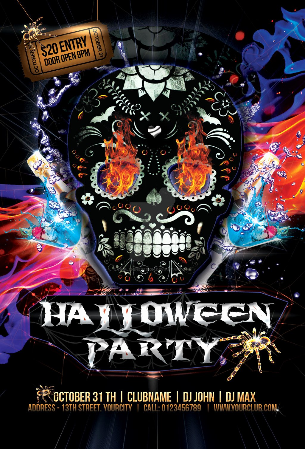Halloween Party Flyer Template New Halloween Party Flyer by Tripleninedesign On Deviantart