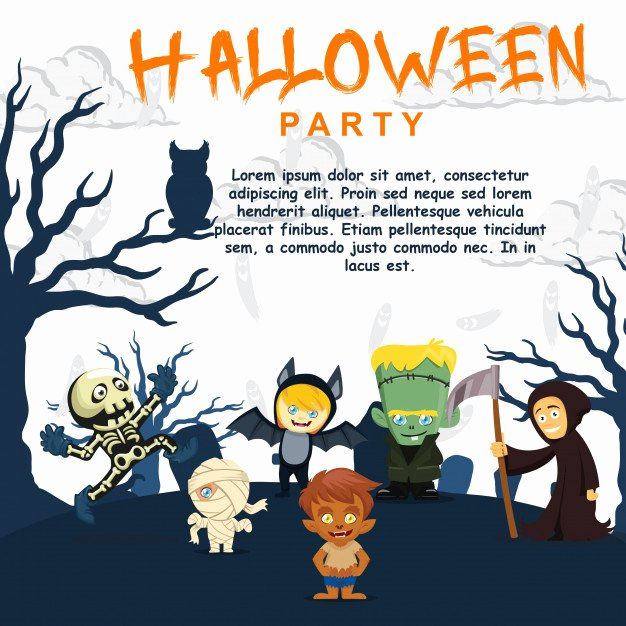Halloween Party Invitations Template Fresh Halloween Party Invitation Template Cute Kids Character