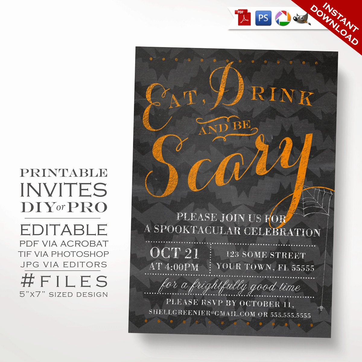 Halloween Party Invitations Template Inspirational Halloween Invitation Template Halloween Party Chalkboard