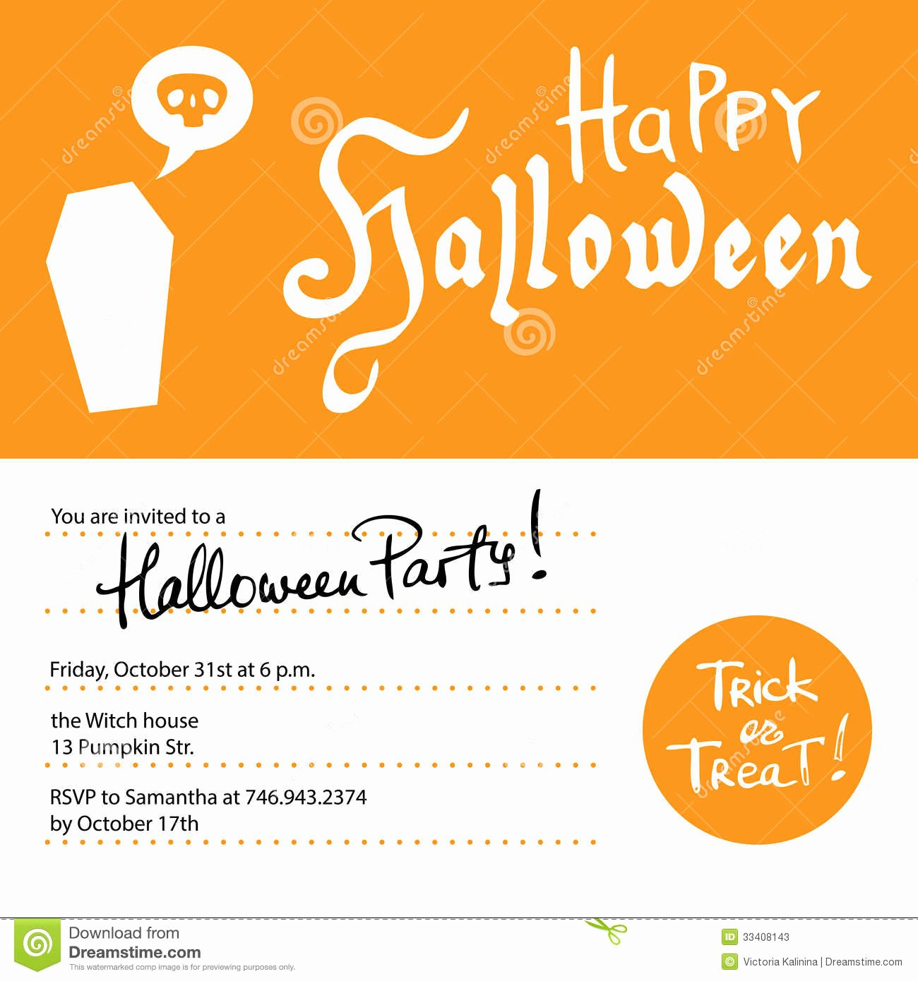 Halloween Party Invitations Template Inspirational Halloween Party Invitation Design Template Stock Vector