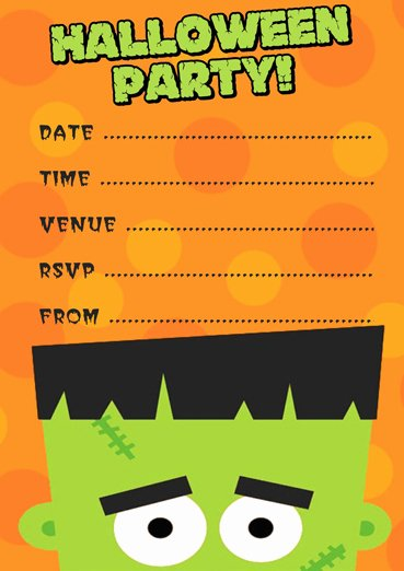 Halloween Party Invite Template Awesome Free Frankenstein Halloween Party Invitation Template