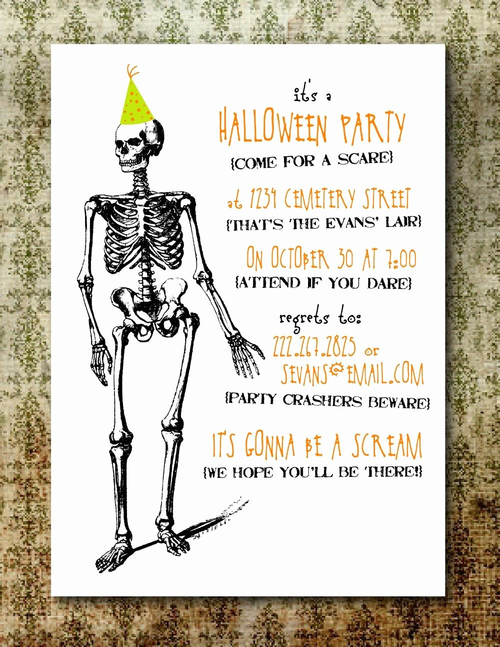 Halloween Party Invite Template Beautiful Printable Spooky Halloween Party Invitation