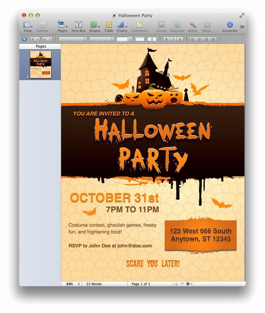 Halloween Party Invite Template Fresh Halloween Party Invitation for Pages Mactemplates