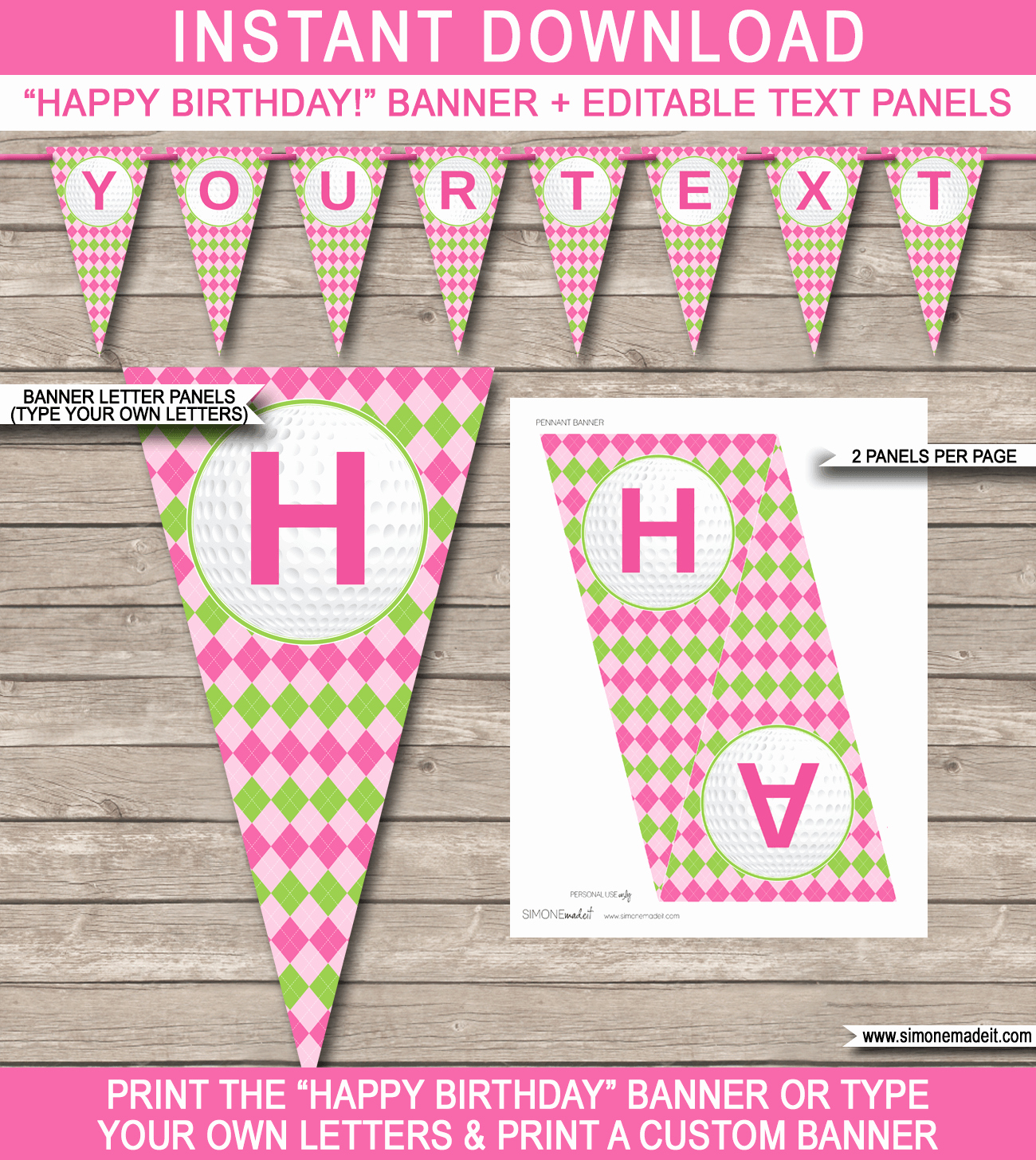 Happy Birthday Banner Template Awesome Girls Golf Birthday Banner Template