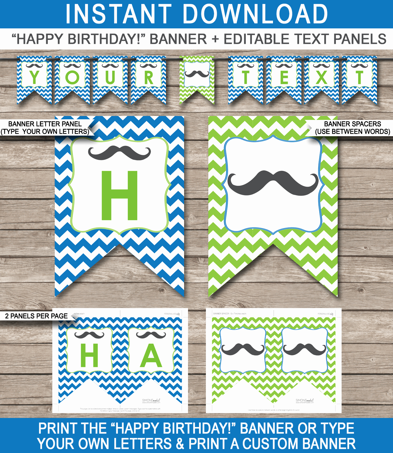 Happy Birthday Banner Template Best Of Mustache Party Banner Template