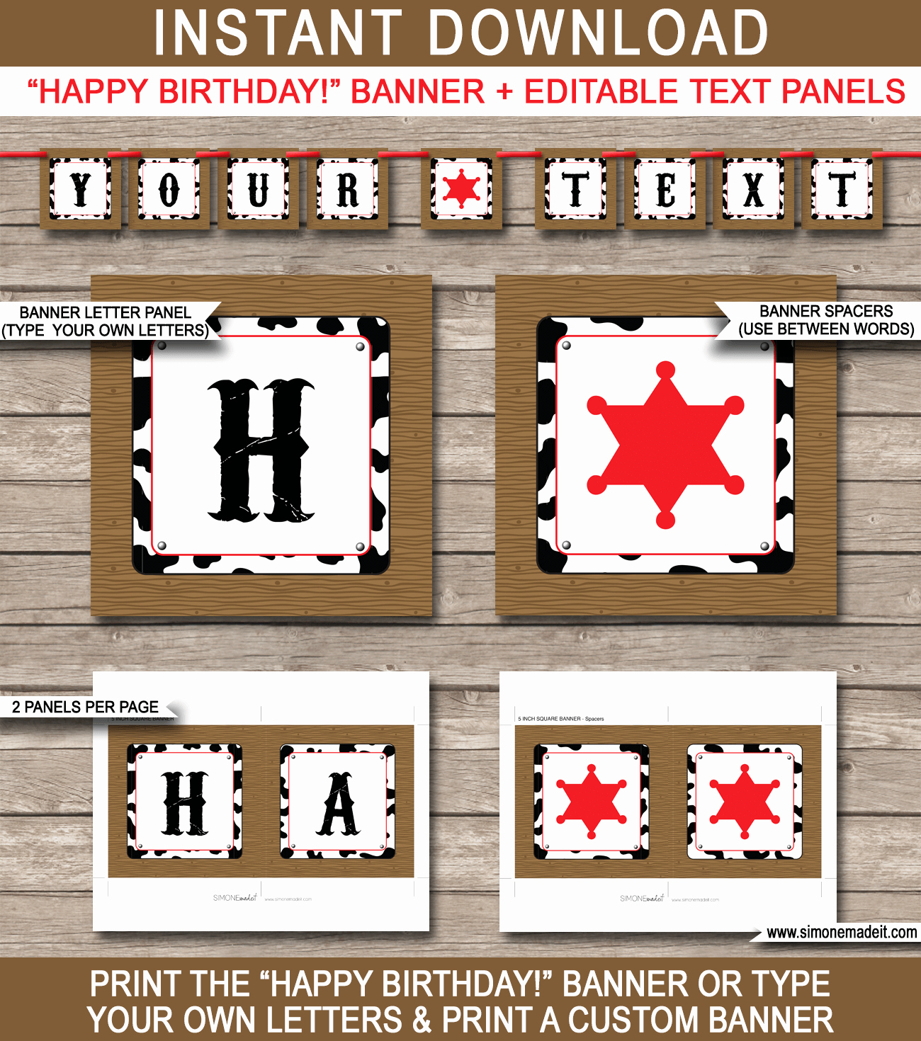 Happy Birthday Banner Template Lovely Cowboy Party Banner Template Birthday Banner