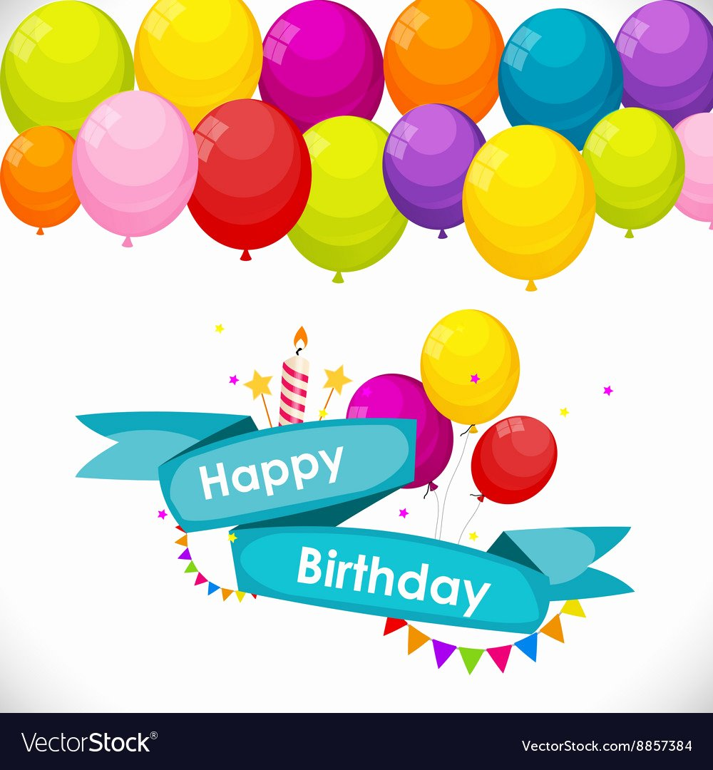Happy Birthday Template Free Best Of Happy Birthday Card Template with Balloons Vector Image