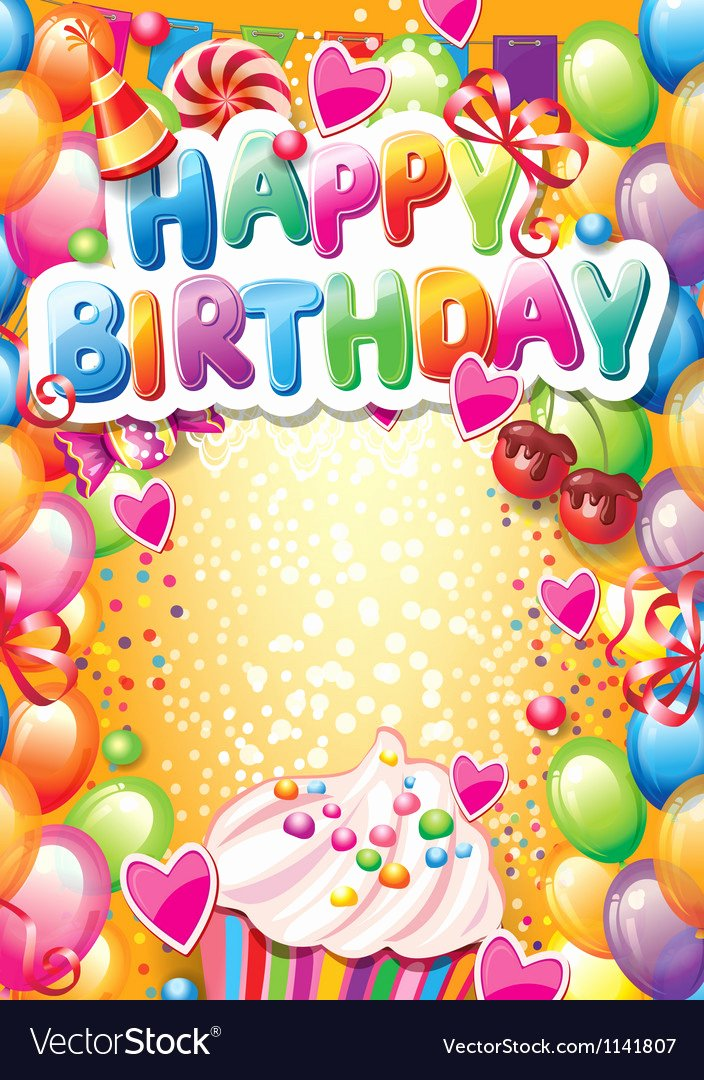 Happy Birthday Template Free Lovely Template for Happy Birthday Card with Place for Vector Image