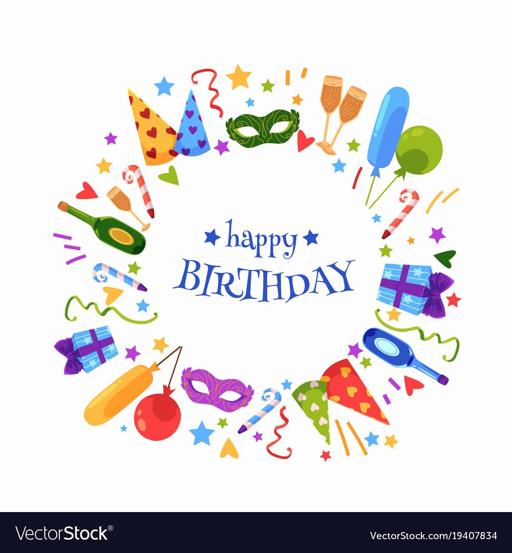 Happy Birthday Template Free New Flat Happy Birthday Card Template Royalty Free Vector Image
