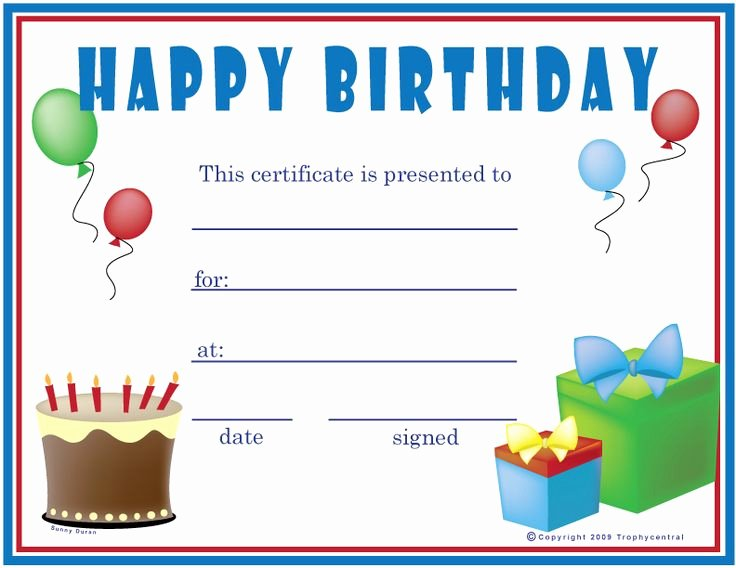Happy Birthday Template Free Unique Free Printable Gift Certificate forms