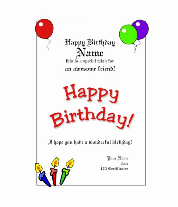 Happy Birthday Template Word New Happy Birthday Template Word – Happy Holidays