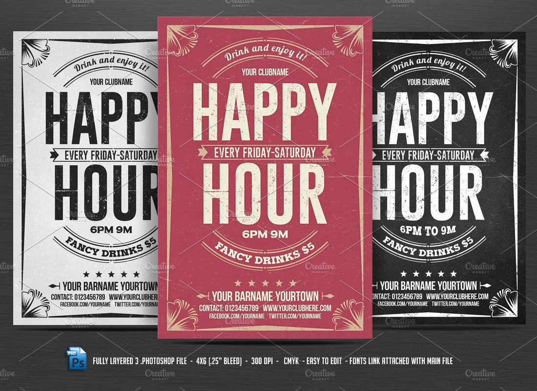 Happy Hour Flyer Template Elegant Happy Hour Flyer Flyer Templates Creative Market