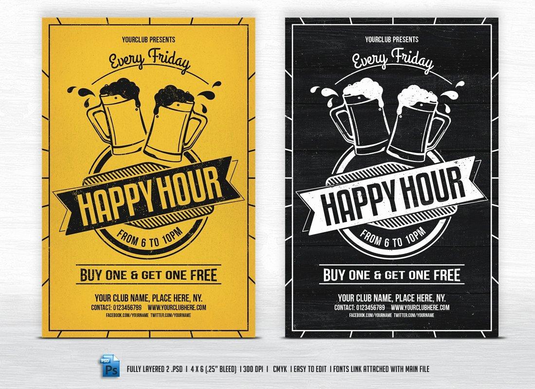 Happy Hour Flyer Template Elegant Happy Hour Flyer Templates Flyer Templates Creative Market