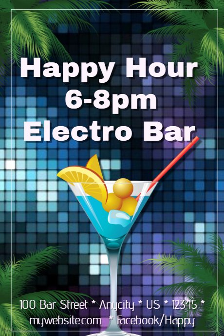 Happy Hour Flyer Template Inspirational Happy Hour Bar Party Flyer Template