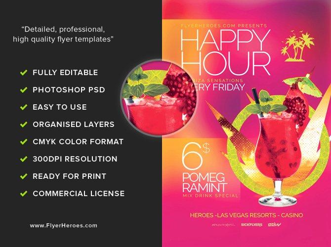 minimal happy hour flyer template