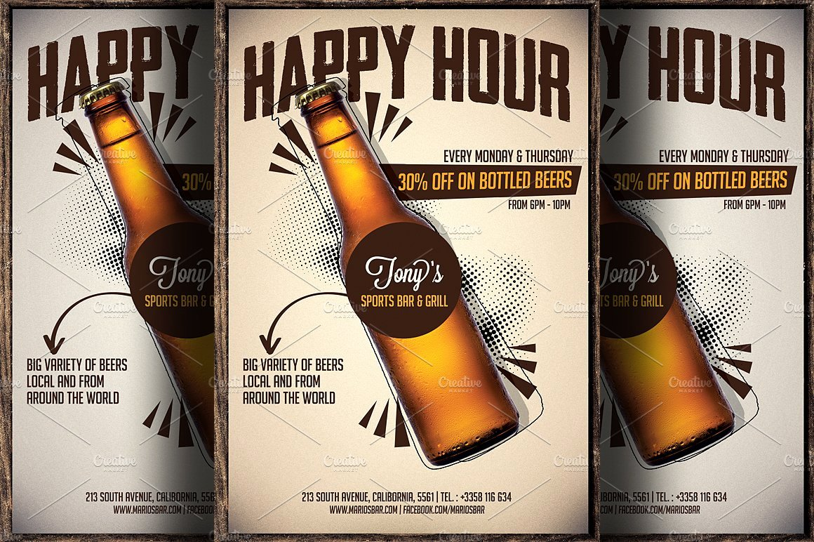 Happy Hour Flyer Template New Beer Promotion Happy Hour Flyer Flyer Templates On
