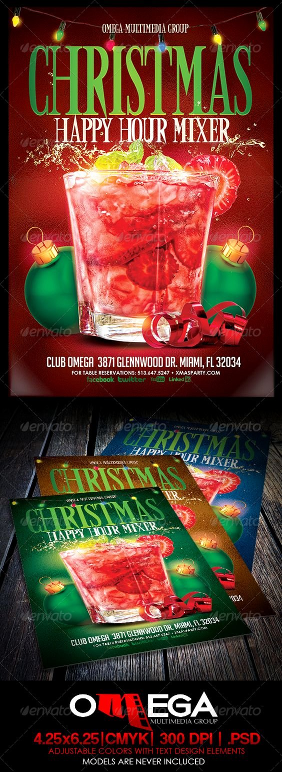 Happy Hour Flyer Template New Graphicriver Christmas Happy Hour Mixer