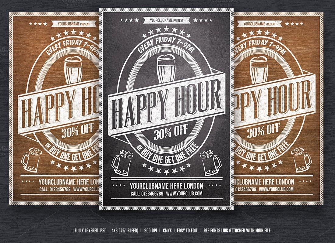 Happy Hour Flyer Template New Happy Hour Flyer Template Flyer Templates On Creative Market