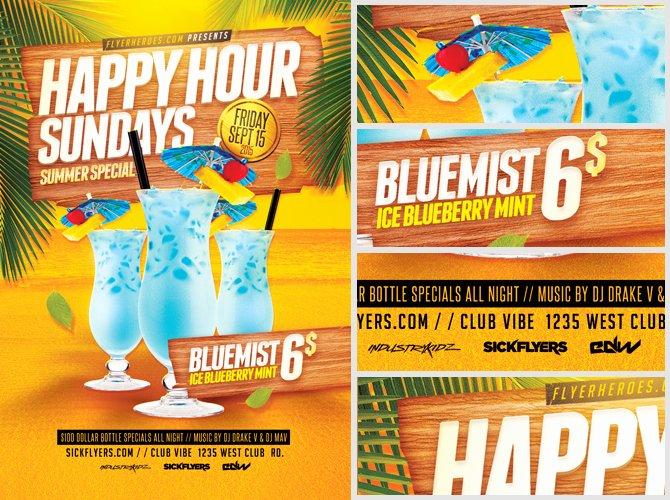 Happy Hour Flyer Template New Summer Happy Hour Flyer Template Flyerheroes