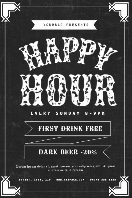 Happy Hour Invite Template Beautiful Happy Hour Flyer Template