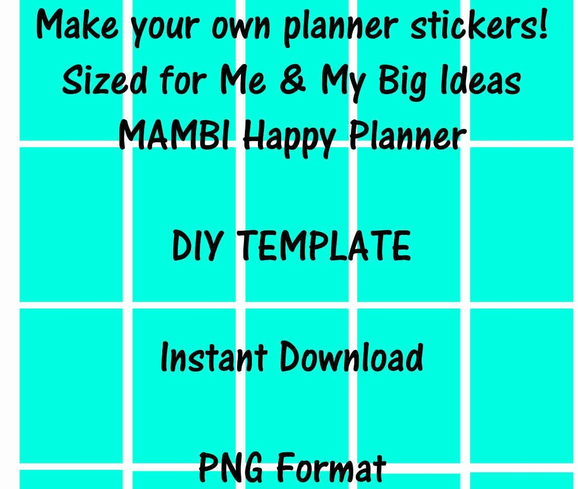Happy Planner Sticker Template Beautiful Mambi Me & My Big Ideas Happy Planner Sticker Template Instant