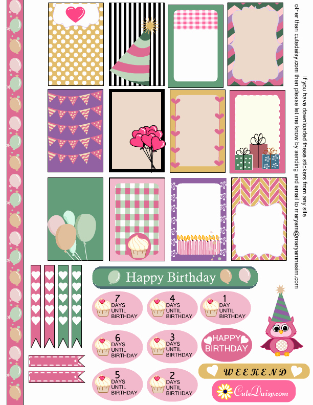 Happy Planner Sticker Template Luxury Planner & Journaling Printables Free Birthday Sampler