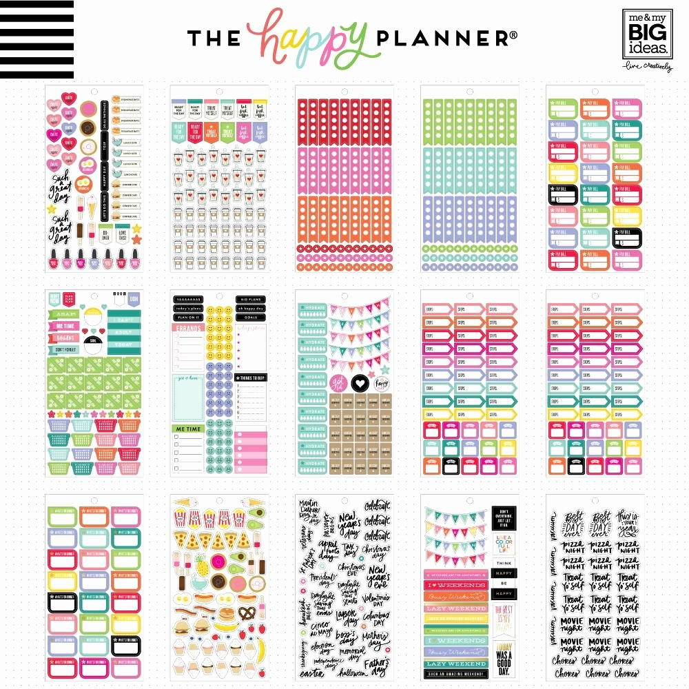 Happy Planner Sticker Template Luxury Value Pack Stickers Planner Basics™ – Me & My Big Ideas