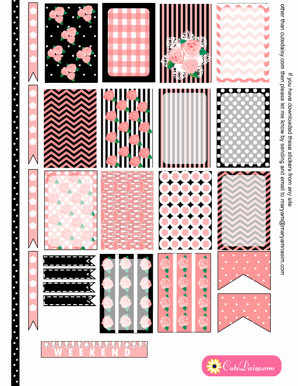 Happy Planner Sticker Template Unique Free Printable Shabby Chic Stickers for Planner In 6 Colors