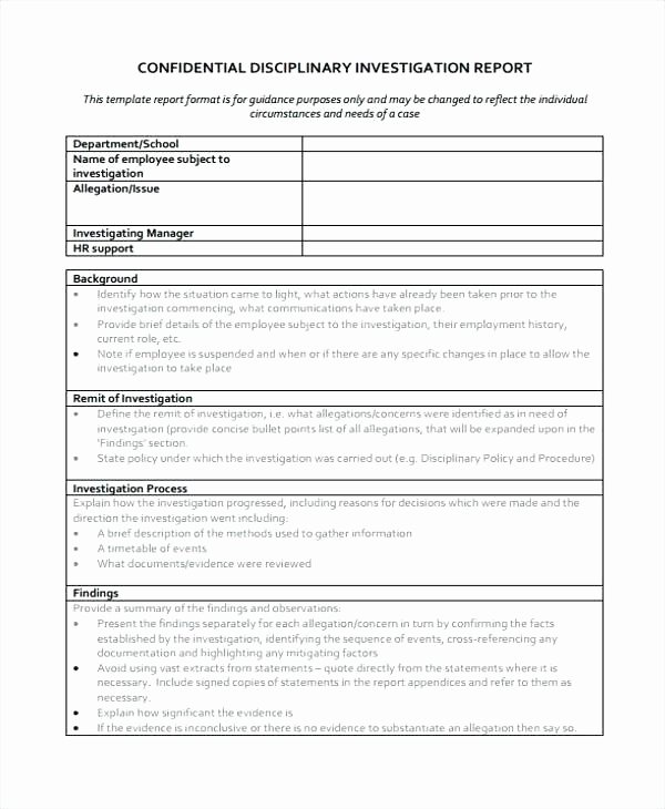 Harassment Investigation Report Template Lovely Employee Investigation Report Template Workplace Incident
