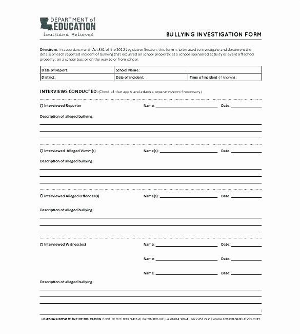 Harassment Investigation Report Template Unique Workplace Investigation Report Template Ual Harassment